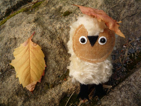 Crupitsik   Little  tiny owlet, soft art  toy owl doll creature  by Wassupbrothers.pocket travel  companion, blythe friend,  MADE TO ORDER