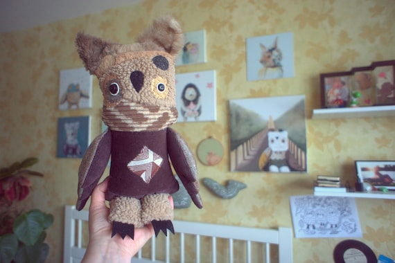Rory  Owl   , soft art  creature textile doll by  Wassupbrothers, snow  beige brown  night owl , recycled  faux fur scrappy buho