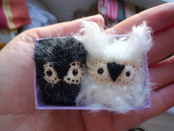 Olgita and Pocito -  Little  white , black  tiny owlets pair , soft art  toy owl creatures friends  by Wassupbrothers, miniature buho doll