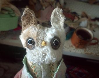 Gabriella  owl ,  soft art  creature  textile doll by   Wassupbrothers,  retro woodland owl, recycled scrappy handsewn heirloom owl doll