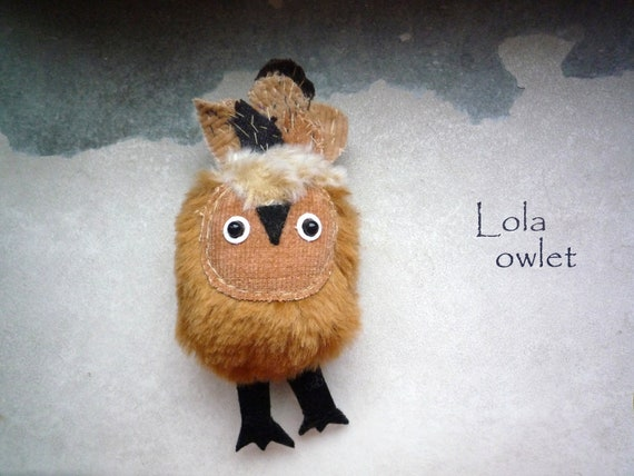Lola   Little  tiny owlet, soft art   owl doll creature  by Wassupbrothers. pocket friend, travel companion, buho, creature faux fur