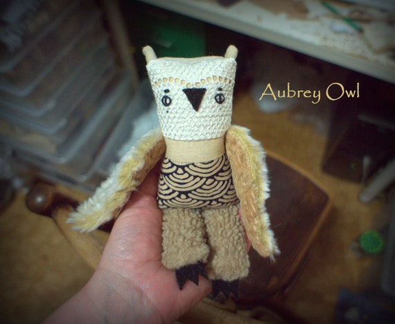 Aubrey   owl  , soft art textile  creature   by  Wassupbrothers, buho boho  friend, stuffed  doll , recycled retro  vintage lacy  heirloom
