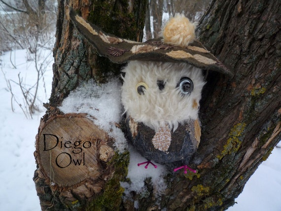 Diego  owl , textile soft sculpture   standing art , collectible  OOAK doll  by Wassupbrothers, recycled vintage fabric, art object