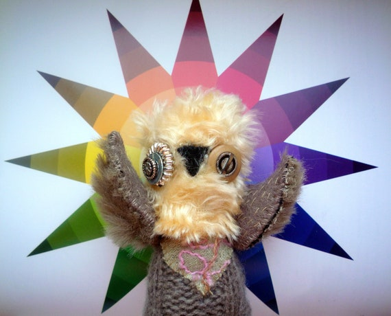 Niko  owl  , soft art textile  creature   by  Wassupbrothers, buho boho  friend, stuffed  doll , recycled scrappy ,home decor, miniature