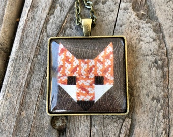 Fox Quilt Block Necklace Gift for Sewers Quilters Sewing Quilter Mothers Day  Birthday Gift Barn Quilt Trail