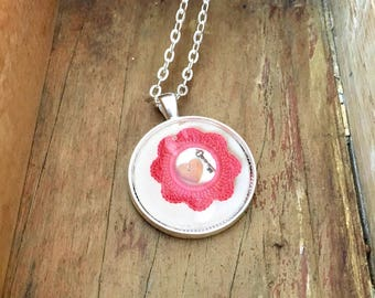 Key Heart and Crochet Pendant Necklace Gift for Girlfriend Unique Birthday Gift Industrial Whimsy Valentines Mothers Day