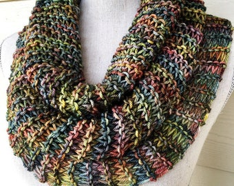 Coffee Shop Cowl Infinity Scarf Circle Scarf Knit Gift Ready to Ship