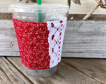 Grande Size Red Lace Coffee Cozy Reversible Cup Cozy To Go Cup Sleeve Teacher Gift Frappuccino