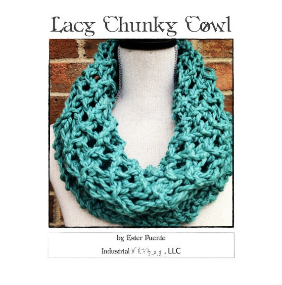 Lacy Chunky Cowl Knitting Pattern Craft Party Circle Loop Etsy