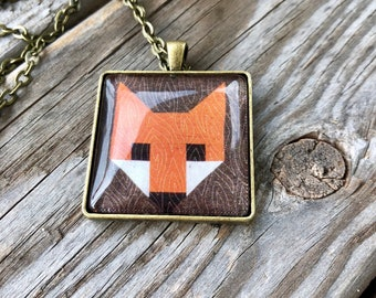 Fox Quilt Block Necklace Gift for Sewers Quilters Sewing Quilter Birthday Gift Barn Quilt Trail