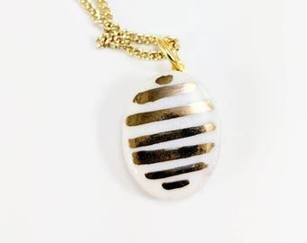 GOLD STRIPES PORCELAIN Pendant /// ceramic jewelry, clay pendant, clay bead, clay necklace, porcelain jewelry, porcelain pendant