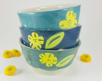 SOUP BOWL with FLOWERS/// Cereal Bowl, Pasta Bowl, Serving Bowl, Porcelain Bowl, Pottery Bowl, Ceramic Soup Bowl, Handmade Pottery