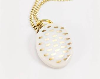 GOLD DASH PORCELAIN Pendant /// ceramic jewelry, clay pendant, clay bead, clay necklace, porcelain jewelry, porcelain pendant
