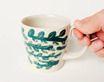 CERAMIC VINE MUG // Pottery Mug, Ceramic Mugs Set, Ceramic mug, Large Green Pottery mug, Coffee /Tea Porcelain cup, Ceramic Coffee mug,
