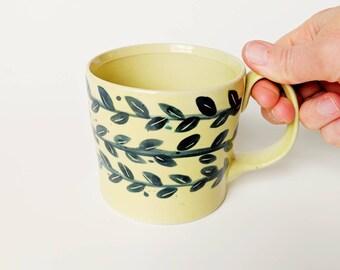 CERAMIC VINE MUG // Pottery Mug, Ceramic Mugs Set, Ceramic mug, Large Pottery mug, Coffee /Tea Porcelain cup, Ceramic Coffee mug,