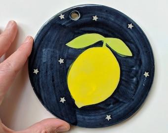 LEMON WALL DECOR: Lemon Decor Kitchen, Ceramic lemon, Ceramic Lemons, Ceramic Wall Art, Lemon, Wall Art, Kitchen Art, Ceramic Wall Tile