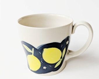 LEMON CERAMIC MUG // Pottery Mug, Ceramic Mugs Set, Ceramic mug, Large Blue Pottery mug, Coffee /Tea Porcelain cup, Ceramic Coffee mug,