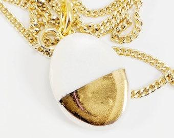 HALF DIP GOLD Porcelain Pendant /// ceramic jewelry, clay pendant, clay bead, clay necklace, porcelain jewelry, porcelain pendant