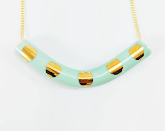 TEAL PORCELAIN & GOLD necklace /// ceramic jewelry, clay pendant, clay bead, clay necklace, porcelain jewelry, porcelain pendant