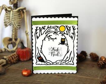 Handmade Halloween Card, Creepy Woods Scene, Owl Monster, Trick or Treat, Moon, Ribbon,  Blank Inside, Free US Shipping