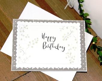 Handmade Birthday Card, Happy Birthday, Floral, Polka Dots, Blank Inside, Free US Shipping