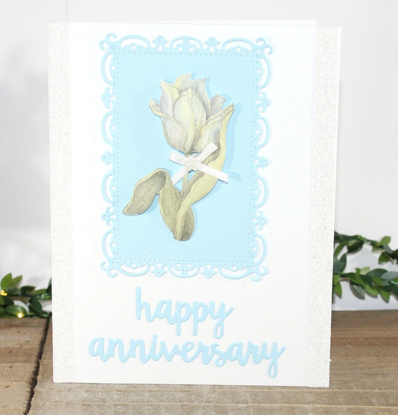 Blue White Silver Happy Anniversary One of a Kind,Free US Shipping Flower Unique Blank Inside Anniversary Card