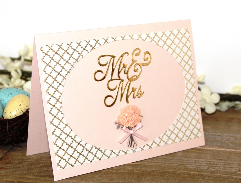 Mr and Mrs Flower Bouquet Blank Inside Wedding  Card Pink Gold Free US Shipping Unique One of a Kind