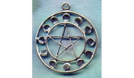 Petit Argent Sterling Pentacle Pendentif Pentagramme Pagan Wiccan Bijoux Charme