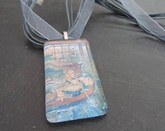 Alice In Wonderland Glass Oblong Tile Necklace (Grey)