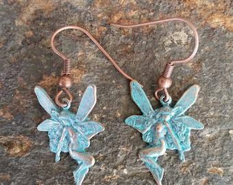 Danity Dangling  Ultra Light Weight Patina Fairy Earrings