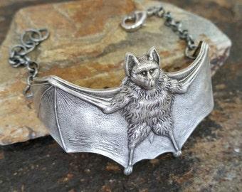 Antiqued Silver Adjustable  Goth Bat Bracelet