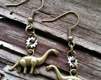 Tiny Dinasour Earrings with Little Gear