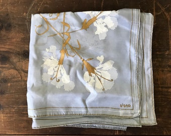 Vintage Vera Neumann Silk Screen Printed Large Scarf - Periwinkle Blue White and Gold Flowers - Patent Pending, Rare, Museum Quality