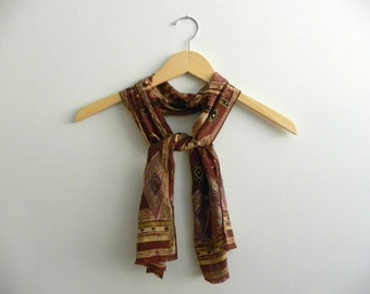 Oscar de la Renta 1990s Earth Tone Long Neck Scarf