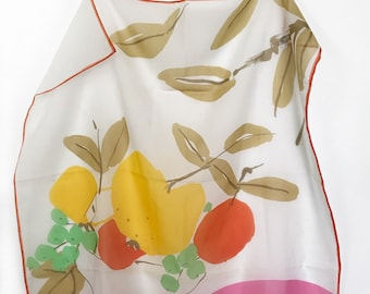 Vintage Vera Sheer Scarf - Fruit Bowl and Leaves - Colorful