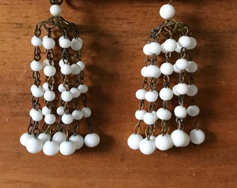 Vintage White Beaded Chandelier Earrings - Made in Japan, Bridal Jewelry, Screw back