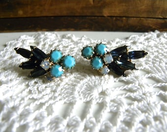 Vintage Peacock Slate Blue, Turquoise and Aurora Borealis Stone Clip on Earrings