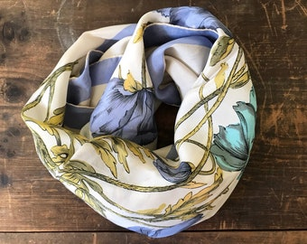 Vintage Large Silk Scarf - Periwinkle and Teal Poppies