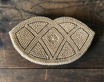 Vintage 1950's Miranda Beaded Clutch - Lip Shape with Flower Detail - Made in Japan