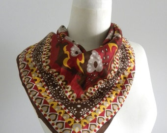 Vintage Jaques Piaget Geometric and Paisley Print Brown Pink and Yellow Scarf