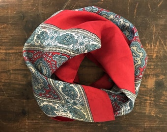 Vintage Liberty of London Red and Blue Paisley Silk Scarf