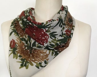 Vintage Vera Neumann Early 1960s Silk Scarf - Floral, Large Silk