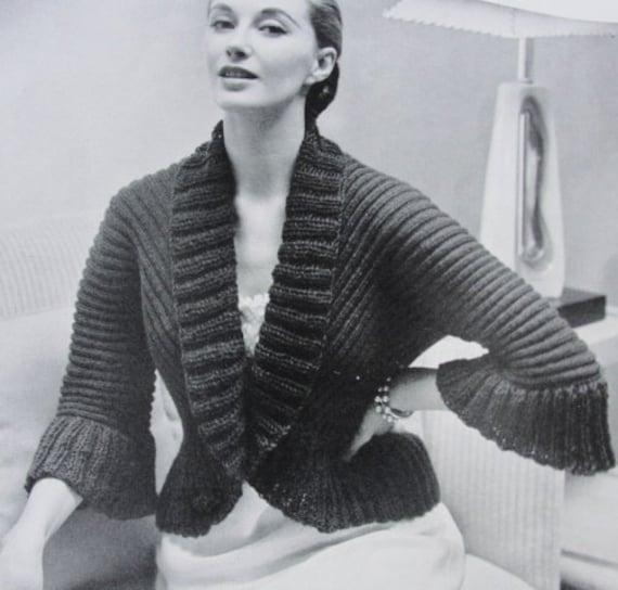 7afd1eef367f2a INSTANT PDF PATTERN 1950s Vintage Knitting Pattern Bed Jacket