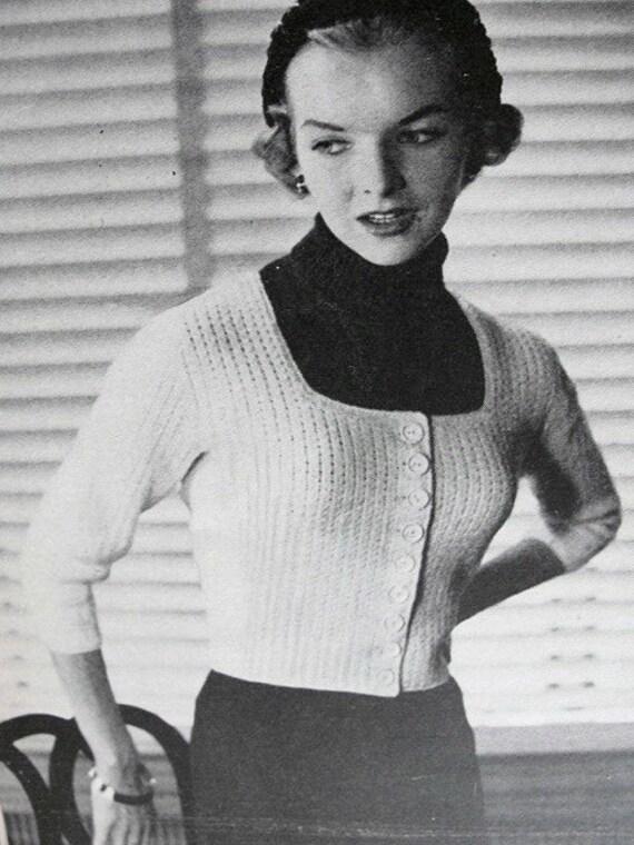 13836e90b15061 INSTANT PDF PATTERN 1950s Vintage Knitting Pattern Marilyn