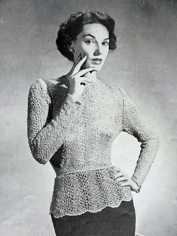 6dfdf17c98ceb5 INSTANT PDF PATTERN 1950s Vintage Knitting Crochet Pattern