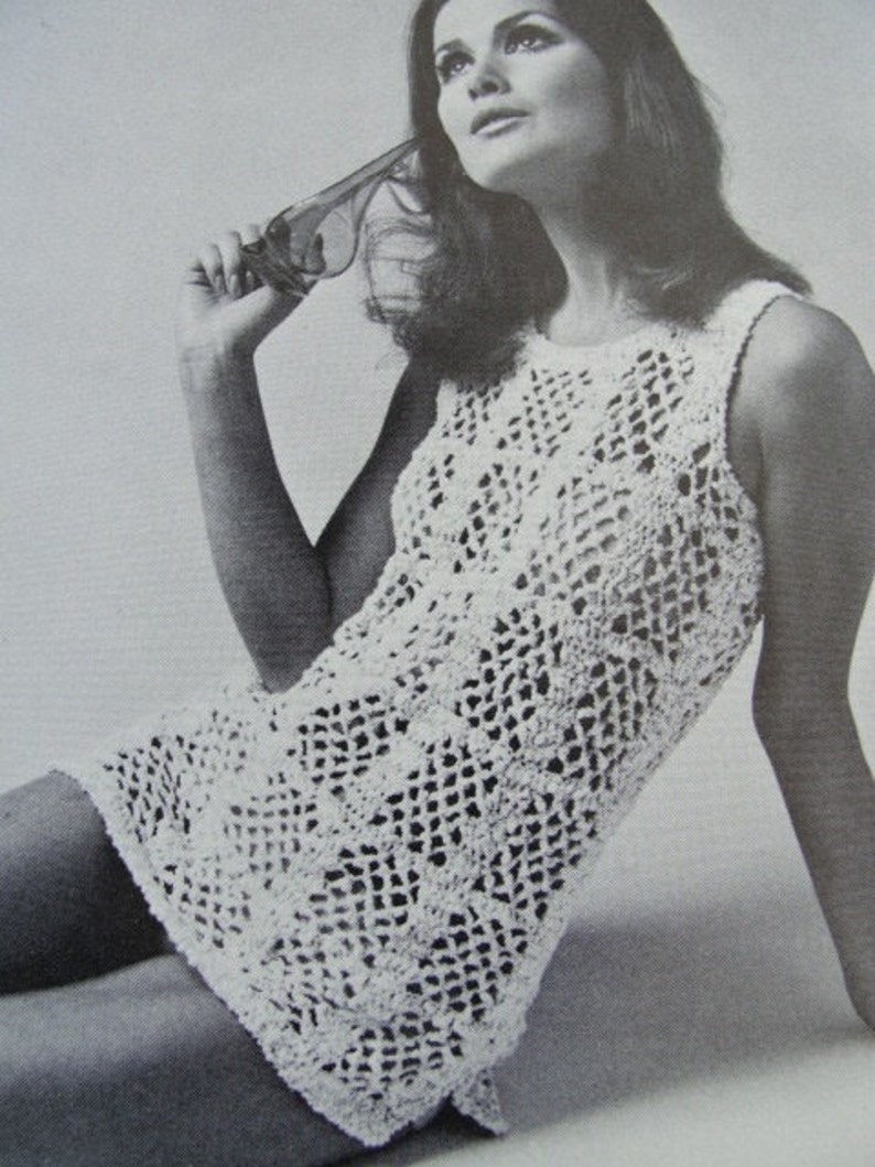 73acbc49d9938 INSTANT PDF PATTERN 1960s Mod Pretty Crocheted Lace Beach