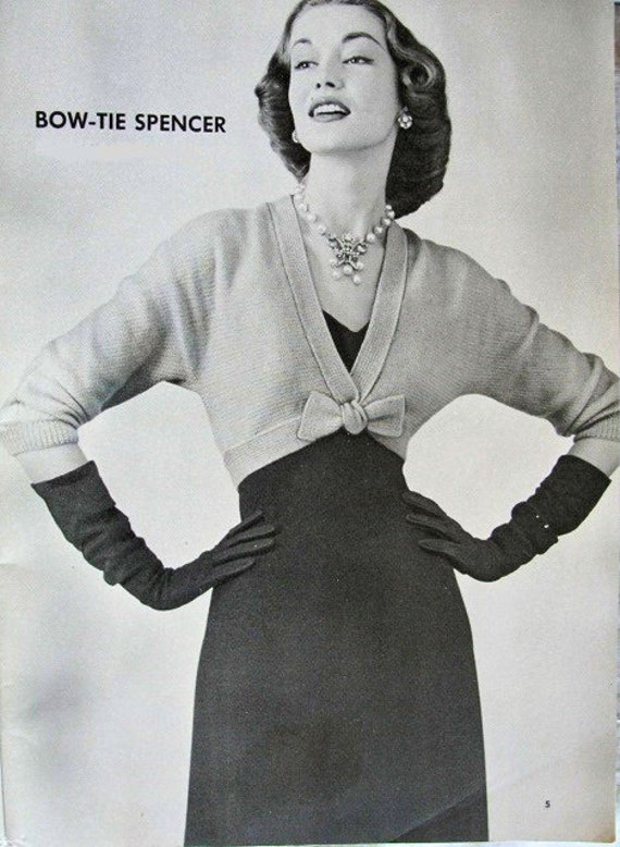 0bdc5684fac151 INSTANT PDF PATTERN 1950s Classy Bow Tie Spencer Sweater