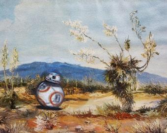 BB-8 desert stroll. Print fits 8.5 x 11 in frame (free shipping)