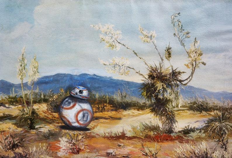 BB-8 desert stroll. Print fits 8.5 x 11 in frame free image 0