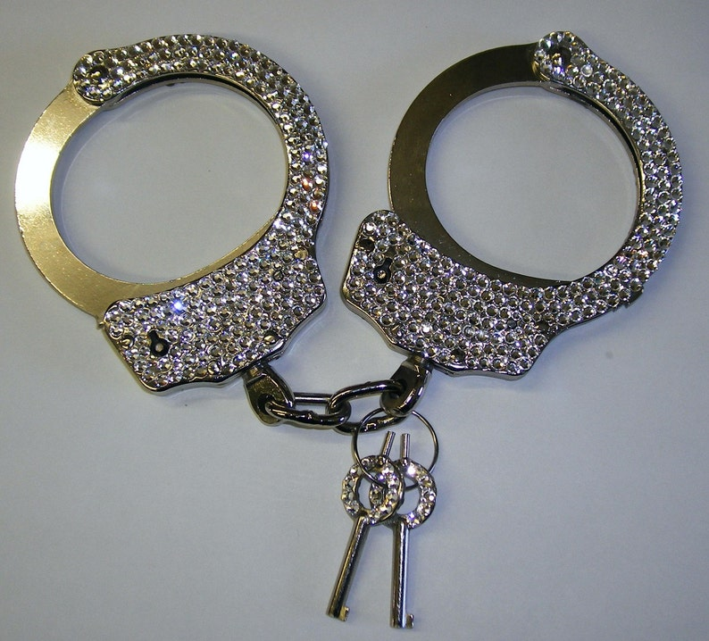 real handcuffs rhinestoned